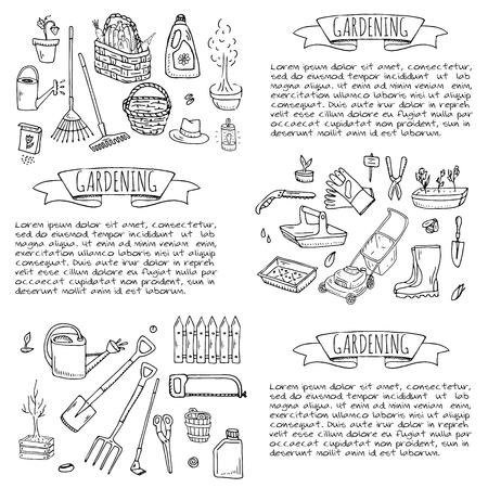 Hand drawn doodle set of Gardening icons. Vector illustration set. Cartoon Garden symbols. Sketchy elements collection: lawnmower, trimmer, spade, fork, rake, hoe, trug, wheelbarrow, hose reel. Archivio Fotografico - 100314311