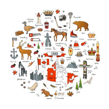 Hand getrokken doodle Canada icons set Vector illustratie geïsoleerde symbolen collectie canadese symbolen Cartoon elementen: beer, kaart, vlag, esdoorn, bever, hert, gans, totempaal, paard, hockey, poutine