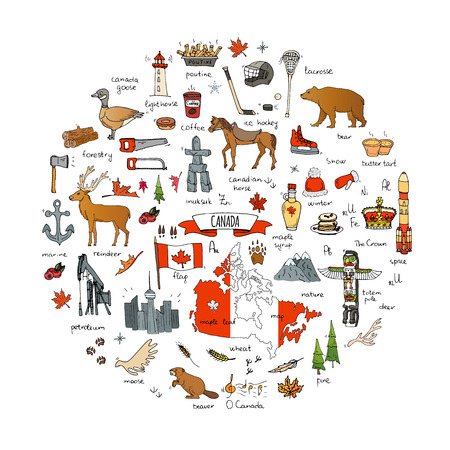 Hand gezeichnete Gekritzel Kanada Ikonen setzen Vektor-Illustration isolierte Symbole Sammlung kanadischer Symbole Cartoon-Elemente: Bär, Karte, Flagge, Ahorn, Biber, Hirsch, Gans, Totempfahl, Pferd, Hockey, Poutine