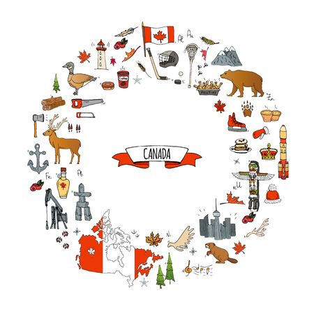 Hand drawn doodle Canada icons set Vector illustration isolated symbols collection of canadian symbols Cartoon elements: bear, map, flag, maple, beaver, deer, goose, totem pole, horse, hockey, poutine Ilustração