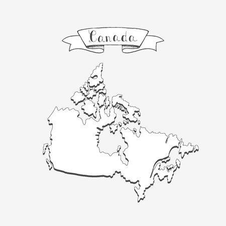 Hand drawn doodle Canada country map icon Vector illustration isolated on white background Canadian outer borders symbol Cartoon ribbon band element Illustration