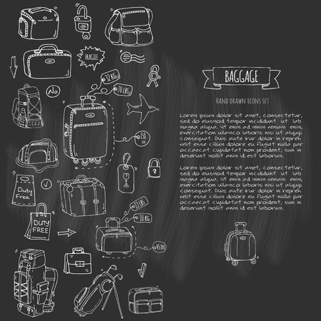 Hand drawn doodle Baggage icons set. Vector illustration. Different types of baggage. Large and small suitcase, hand luggage, backpack, carrying animals, crate, handbag, tag. Sketch cartoon style.