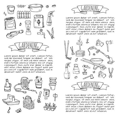 Hand drawn doodle set of Gardening icons. Vector illustration set. Cartoon Garden symbols. Sketchy elements collection: lawnmower, trimmer, spade, fork, rake, hoe, trug, wheelbarrow, hose reel. Stock Vector - 100314323