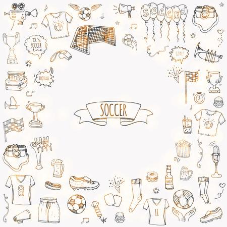 Doodle disegnati a mano Set da calcio Illustrazione vettoriale Icone tradizionali di sport impreciso Collezione di elementi tipici di calcio dei cartoni animati Pallone da calcio, tacchetti, obiettivo, trofeo, fischio, guanti, stivali isolati