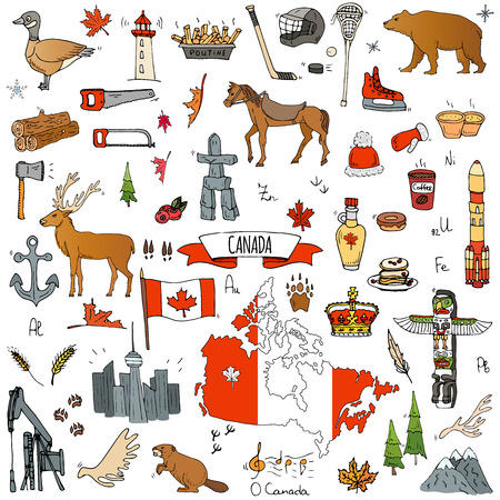 Hand drawn doodle Canada icons set Vector illustration isolated symbols collection of canadian symbols Cartoon elements: bear, map, flag, maple, beaver, deer, goose, totem pole, horse, hockey, poutine Stock Illustratie