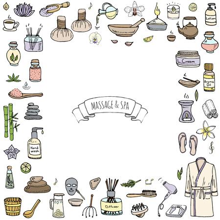 Hand drawn doodle Massage et Spa icons set Vector illustration détente symboles collection Cartoon éléments de concept de soins de beauté soins de santé Traitement de bien-être Massage corporel Lifestyle Soins de la peau Spa