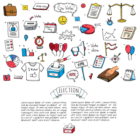 Hand drawn doodle Vote icons set. Vector illustration. Election symbols collection. Cartoon various voting elements: hand putting paper in the ballot box, speaker, scale, calendar, infographics, case. Illusztráció