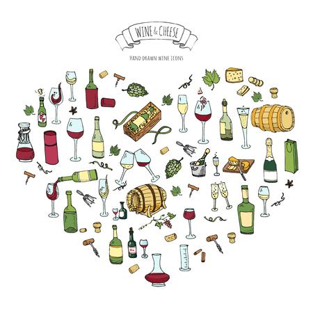 Hand getrokken wijnset pictogrammen Vector illustratie Schetsmatige wijnproeverij elementen collectie Wijn objecten Cartoon wijn symbolen Wijngaard achtergrond Vector wijn achtergrond Wijnmakerij illustratie Druif Wijnglas