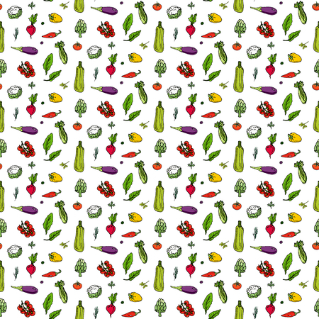 Seamless pattern hand drawn doodle vegetables icons set Vector illustration seasonal vegetable symbols collection Cartoon different kinds of vegetables Various types of vegetables Sketchy style Illustration
