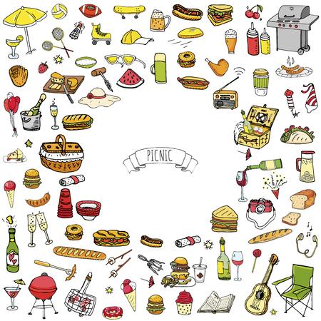 Picnic icons set vector illustration with food symbols