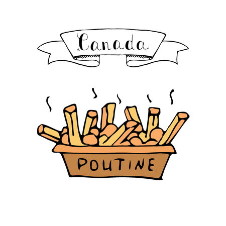 French fries illustration with Canada ribbon on a white background