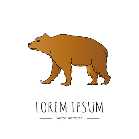 Brown bear icon illustration isolated on a white background