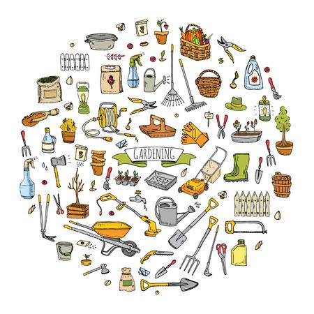 Gardening icons illustration set on a white background Stock Illustratie