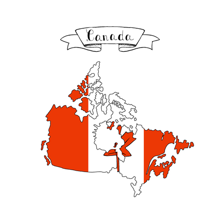 Illustration of Canada country map icon