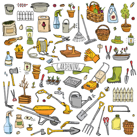 Gardening tools icons vector illustration set. Illustration