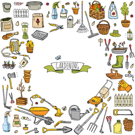 Gardening tools icons vector illustration set. Illusztráció