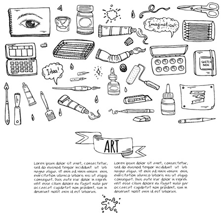 Art and Craft tools icons set vector illustration Ilustrace
