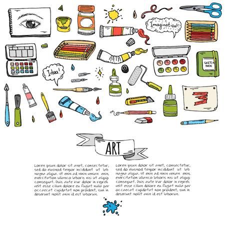 Art and Craft tools icons set vector illustration Çizim