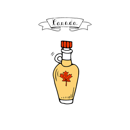 Illustration of a Canada ribbon with maple syrup icon