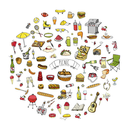 Picnic icons set vector illustration