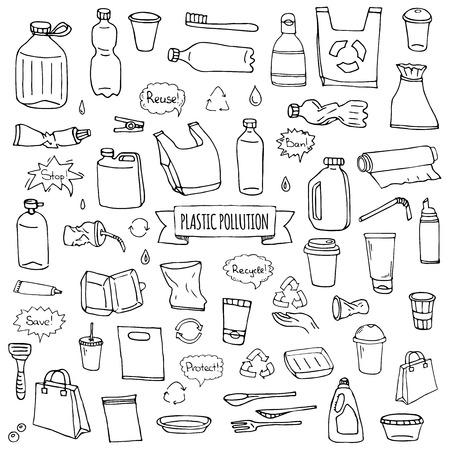 Hand gezeichnete Gekritzel Stop Plastikverschmutzung Icons Set Vektor-Illustration skizzenhafte Symbole Sammlung Cartoon-Konzept Elemente Tasche Flasche Recycling-Zeichen Paket Entsorgung Abfall Kontamination Einwegschale