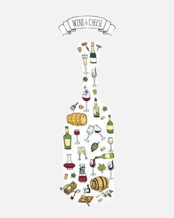 Hand drawn wine set icons Vector illustration Sketchy wine tasting elements collection Objects Cartoon Drink symbols Vineyard background Alcohol background Winery illustration Grape, Glass, Bottle Stock Vector - 100759990