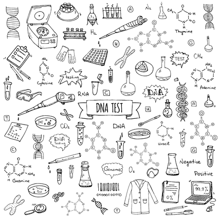 Hand drawn doodle DNA test icons set. Vector illustration. Medical lab symbol collection. Cartoon nano technology, medicine, genome elements: research tools, substance, molecules, nitrogenous bases Illustration