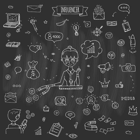 Hand drawn doodle set of Influencer icons. Vector illustration set. Cartoon marketing symbols. Sketchy elements collection: laptop, network, mail, followers, people, money, magnet, blogger, leader Illustration