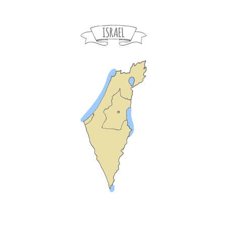 Hand drawn vector illustrated map of Israel Jewish sketch illustration, doodle element Isolated national map made in vector Sand colors Geographical map showing desert and planted areas. Doodle ribbon 스톡 콘텐츠 - 114836162