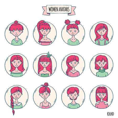 Hand drawn doodle set of people avatar icons. Vector illustration set. Cartoon red headed women symbol Sketchy elements collection: girls with various hairdress, hairstyle, clothing, clothes, t-shirts