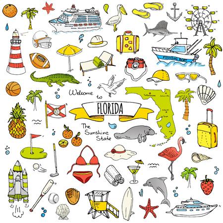 Ręcznie rysowane doodle zestaw ikon na Florydzie. Ilustracja wektorowa, kolekcja symboli na białym tle stanu USA, elementy kreskówek Aligator Manat Jacht Rejs owca Kuter rybacki Golf Futbol amerykański Palmy