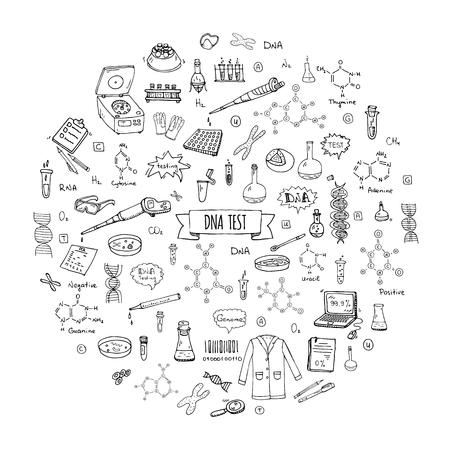 Dibujado a mano doodle conjunto de iconos de prueba de ADN. Ilustración de vector. Colección de símbolos de laboratorio médico. Nano tecnología de dibujos animados, medicina, elementos del genoma: herramientas de investigación, sustancia, moléculas, bases nitrogenadas