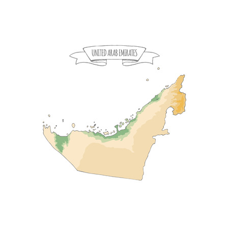 Hand drawn vector illustrated map of United Arab Emirates isolated on white background. Green and Sand colors Geographical map showing desert and planted areas. Doodle ribbon with UAE sign