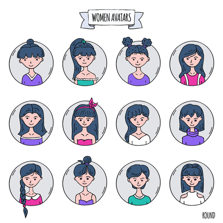 Hand drawn doodle set of people avatar icons. Vector illustration set. Cartoon black headed women faces symbols. Sketchy elements collection: girls with various hairdress, hairstyle, clothing, clothes