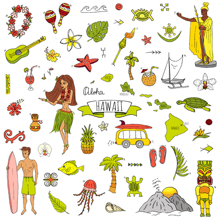 Hand drawn doodle Hawaii icons set Vector illustration isolated symbols collection of hawaiian symbols Cartoon elements: USA state map Honolulu State Hula girl Surfing guy Volcano Guitar Paradise Art Stok Fotoğraf - 114881426