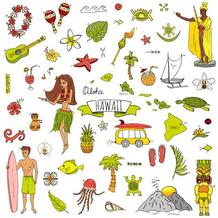 Hand gezeichnete Gekritzel Hawaii Ikonen setzen Vektor-Illustration isolierte Symbole Sammlung von Hawaii-Symbolen Cartoon-Elemente: USA-Staatskarte Honolulu State Hula Mädchen Surfing Guy Volcano Guitar Paradise Art