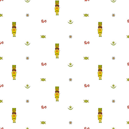 Hand drawn doodle Hawaiian icons seamless pattern Vector illustration statue pattern Texture Simple drawing of tropical symbols for any web design or textile Cartoon Sketch on white background 向量圖像