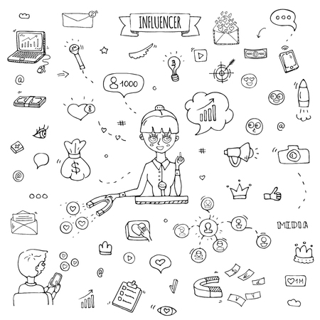 Hand drawn doodle set of Influencer icons. Vector illustration set. Cartoon marketing symbols. Sketchy elements collection: laptop, network, mail, followers, people, money, magnet, blogger, leader  イラスト・ベクター素材