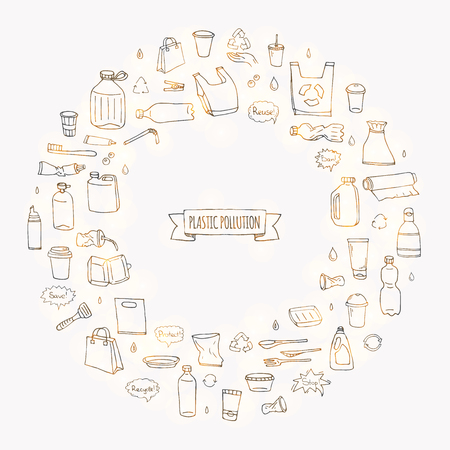 Hand drawn doodle Stop plastic pollution icons set Vector illustration sketchy symbols collection Cartoon concept elements Bag Bottle Recycle sign Package Disposal waste Contamination disposable dish Foto de archivo - 114881444
