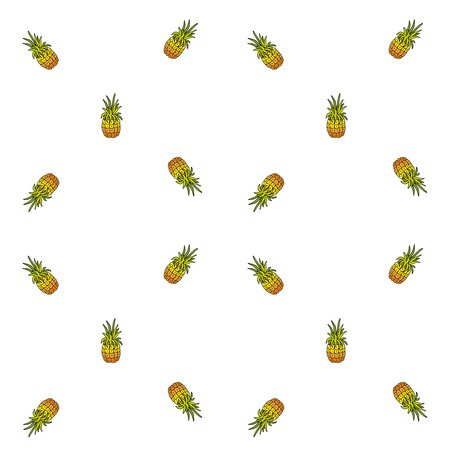 Hand drawn doodle Pineapple icons seamless pattern Vector illustration fruits pattern Texture Simple drawing of tropical fruit for any web design or textile Cartoon Sketch on white background