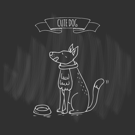 Hand drawn doodle cute dog icon Vector illustration Cartoon normal everyday home pets activities symbol. Sketchy puppy asking for food with empty bowl, healthy lifestyle for funny domestic animal Illustration