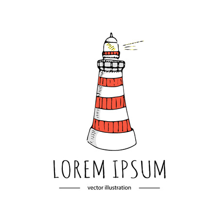 Hand drawn doodle Lighthouse icon isolated on white background. Vector illustration, Canada, Usa symbol Cartoon building Light in the dark sea element Coastline architecture Hope sign