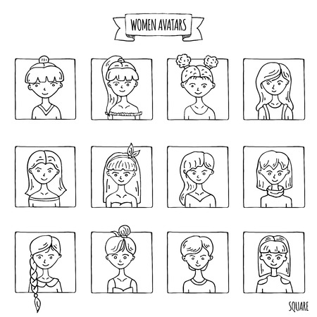Hand drawn doodle set of people avatar icons. Vector illustration set. Cartoon women faces symbols. Sketchy elements collection: girls with various hairdress, hairstyle, clothing, clothes, t-shirts
