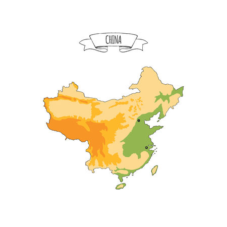 Hand drawn vector illustrated colorful map of China isolated on white background. Sketchy geographical map showing Mountains, flat, islands landscape areas. Doodle ribbon with Chinese sign Illustration