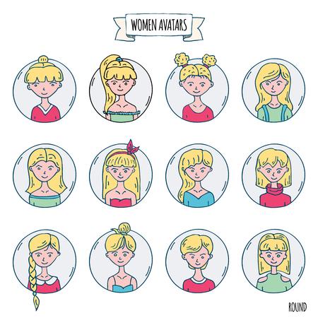 사람들이 아바타 아이콘의 손으로 그린 낙서 세트입니다. 벡터 일러스트 레이 션을 설정합니다. 만화 금발 여성 기호 스케치 요소 컬렉션: 다양한 hairdress, 헤어스타일, 의류, 옷, 티셔츠를 가진 소녀