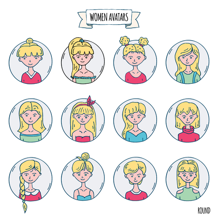 Hand drawn doodle set of people avatar icons. Vector illustration set. Cartoon blonde women symbol Sketchy elements collection: girls with various hairdress, hairstyle, clothing, clothes, t-shirts