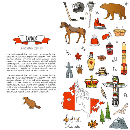 Hand drawn doodle Canada icons set Vector illustration isolated symbols collection of canadian symbols Cartoon elements: bear, map, flag, maple, beaver, deer, goose, totem pole, horse, hockey, poutine 向量圖像