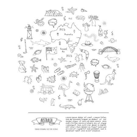 Ensemble d'icônes Australie doodle dessinés à la main Illustration vectorielle collection de symboles isolés de symboles australiens Éléments de dessin animé : carte, drapeau, opéra, barbecue, kangourou, pont, récif de corail, serpent, requin
