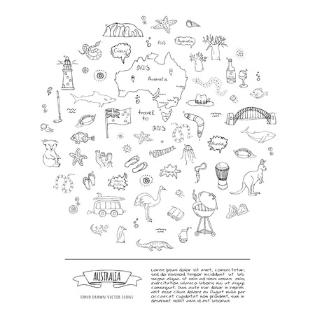 Hand drawn doodle Australia icons set Vector illustration isolated symbols collection of australian symbols Cartoon elements: map, flag, opera house, bbq, kangaroo, bridge, coral reef, snake, shark Archivio Fotografico - 118059691