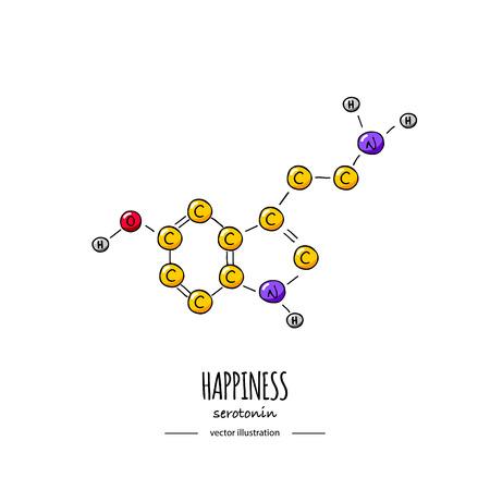 Dibujado a mano doodle Icono de fórmula química de serotonina Ilustración de vector Molécula de dibujos animados Estructura molecular de símbolo de felicidad de bosquejo Fórmula de hormona científica estructural aislada sobre fondo blanco Ilustración de vector